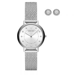 Drakes Jewellers Plymouth, Emporio Armani Watch, Gift For Her, Silver Mesh Watch Set