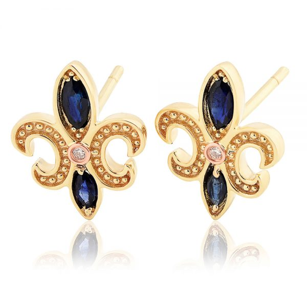 Drakes Jewellers Plymouth, Clogau Jewellery, Gift For Her, Yellow Gold Plated Navy Stud Earrings
