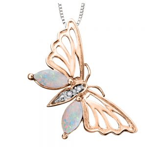Drakes Jewellers Plymouth, Diamond Gift, Gift For Her, Special Occasion Gift, rose gold opal butterfly necklace