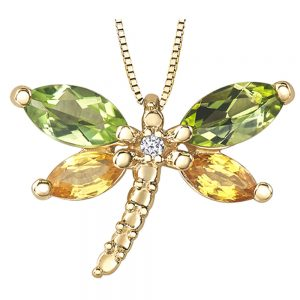 Drakes Jewellers Plymouth, Diamond Gift, Gift For Her, Special Occasion Gift, dragonfly gemstone necklace