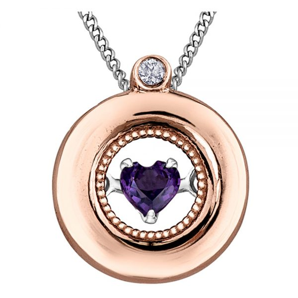 Drakes Jewellers Plymouth, Diamond Gift, Gift For Her, Special Occasion Gift, rose gold amethyst heart necklace
