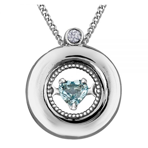 Drakes Jewellers Plymouth, Diamond Gift, Gift For Her, Special Occasion Gift, aquamarine heart necklace