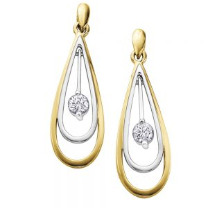 Drakes Jewellers Plymouth, Diamond Gift, Gift For Her, Special Occasion Gift, yellow and white gold tear drop earrings