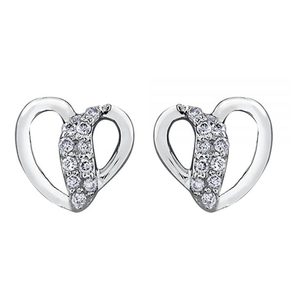 Drakes Jewellers Plymouth, Diamond Gift, Gift For Her, Special Occasion Gift, white gold heart stud diamond earrings