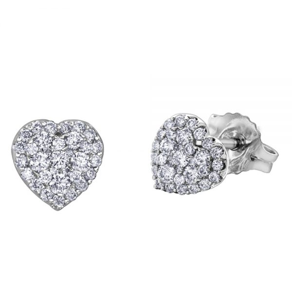 Drakes Jewellers Plymouth, Diamond Gift, Gift For Her, Special Occasion Gift, white gold heart stud earrings