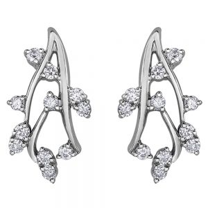 Drakes Jewellers Plymouth, Diamond Gift, Gift For Her, Special Occasion Gift, leaf spikey drop earrings