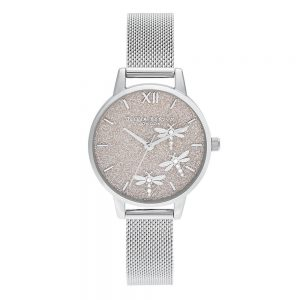 Drakes Jewellers Plymouth, Olivia Burton Watches, Gift For Her, Olivia Burton Jewellery, silver bee mesh watch