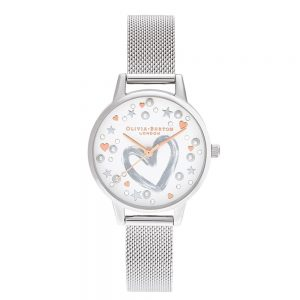 Drakes Jewellers Plymouth, Olivia Burton Watches, Gift For Her, Olivia Burton Jewellery, silver love heart mesh watch