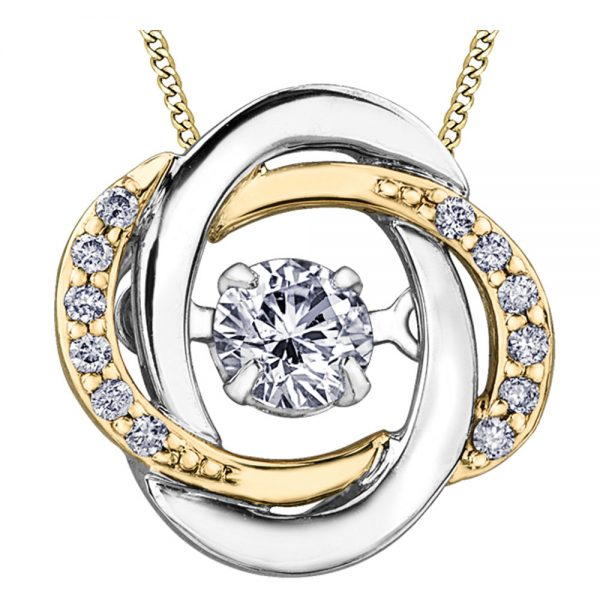 Drakes Jewellers Plymouth, Diamond Gift, Gift For Her, Special Occasion Gift, white and yellow gold knot pendant