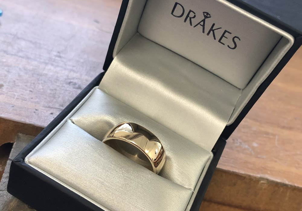 Yellow Gold Wedding Ring, Bespoke Made Wedding Ring, Remodelled Wedding Ring, Drakes Jewellers Plymouth