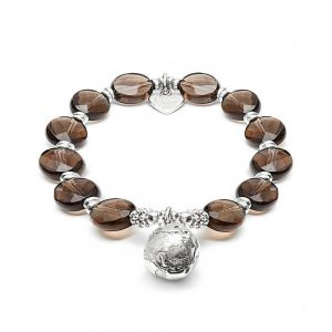 Make a statement with our stackable 925 Sterling Silver and Smokey Quartz bracelet with detailed 'Globe' charm.