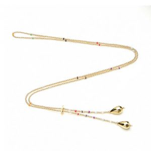 Twinkle with our Serasi Multi Coloured Gold Necklace hand-threaded with gold and Japanese glass beads.