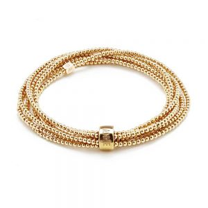 One long continuous strand of glorious Gold beads in a stunning wrap style statement bracelet.