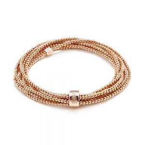 A stunning looped wrap style bracelet in rose gold, the 'Lucki' bracelet is the perfect statement this season.