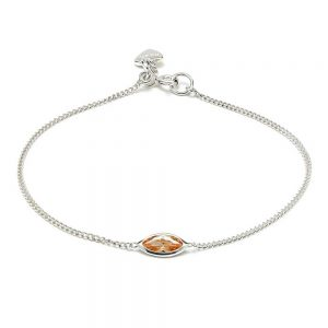 A delicate adjustable chain bracelet handmade with 925 Sterling silver and a genuine Swarovski crystal in blush.