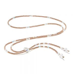 A hand-threaded 14ct Plated Rose Gold necklace with genuine Swarovski Crystals and 925 Sterling Silver detail.