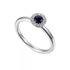 Sapphire and Diamond Ring, Sapphire Ring, White Gold Sapphire Ring
