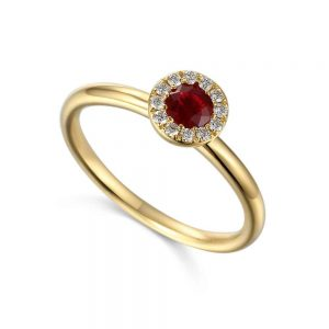 Ruby and Diamond Ring, Ruby Ring, Yellow Gold Ruby Ring, Drakes Jewellers