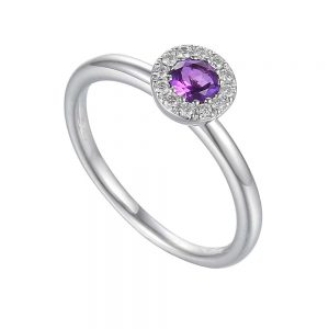 Amethyst and Diamond Ring, White Gold Amethyst Ring, Drakes Jewellers, Plymouth, 9ct White Gold Gemstone rings