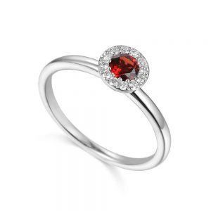 Garnet and Diamond Ring, Garnet White Gold Ring, White Gold Ring, Birthstone Ring, Drakes Jewellers