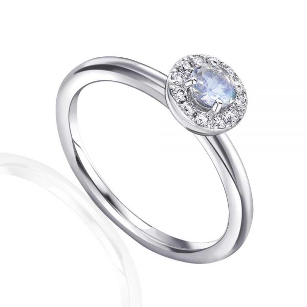 Moonstone and Diamond Ring, Moonstone White Gold Diamond Ring, June Birthstone Ring, Drakes Jewellers, Plymouth