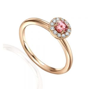 Rose Gold Pink Tourmaline Ring, Diamond and Pink Tournmaline