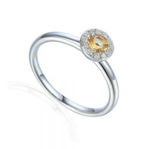 Citrine and Diamond Ring, White Gold Citrine Ring, Citrine Birthstone