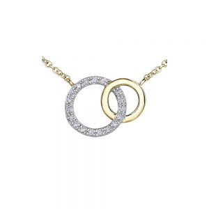 Yellow and White Gold Diamond Pendant, Drakes Jewellers, Plymouth, Diamond Necklace