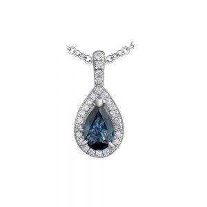 Pear Cut Sapphire and Diamond Pendant, Drakes Jewellers, Plymouth, Pear Cut, Sapphire Pendant