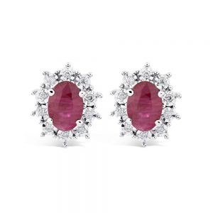 Ruby and Diamond Earrings, Ruby Earrings, 9ct White Gold Ruby Earrings
