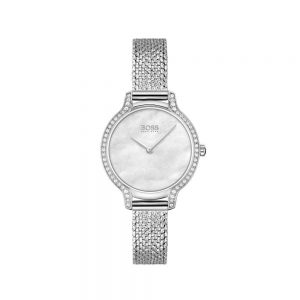 Crystal-studded watch with pressed-mesh bracelet, Jewellers Plymouth, Drakes Jewellers, Boss Watches Plymouth