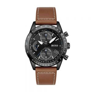 Black-plated chronograph watch with stitched leather strap, Boss Watches, Hugo Boss Watches, Boss Watches Plymouth, Drakes Jewellers Plymouth