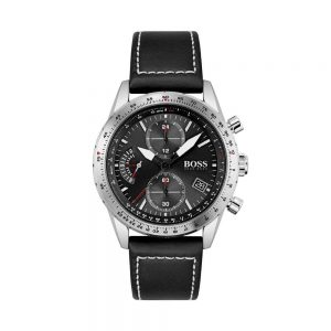Leather-strap chronograph watch with luminescent hands